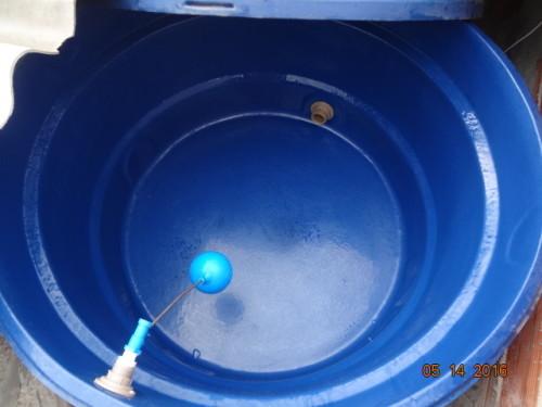 Tampamos a saída da água para que a sujeira não desça pelo cano. Aplicamos solução de Hipoclorito de sódio com pulverizador.